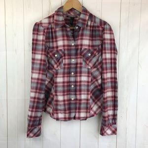 Lucky Brand Red Plaid Long Sleeve Shirt Size S